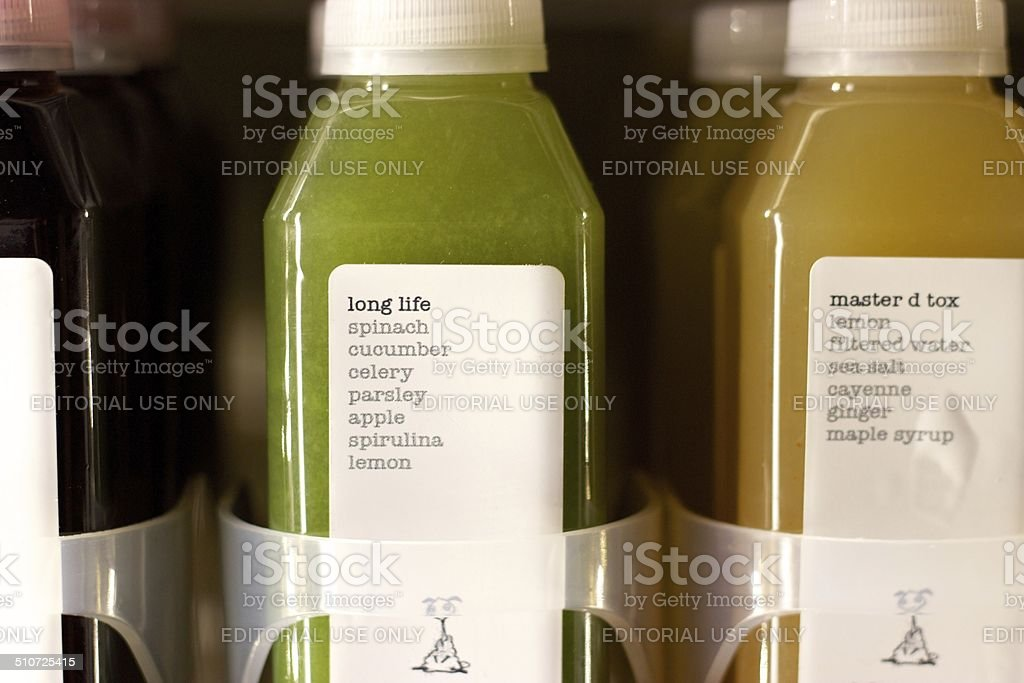 Juice in the refrigerator at New York City's Kaffe 1668 stock photo