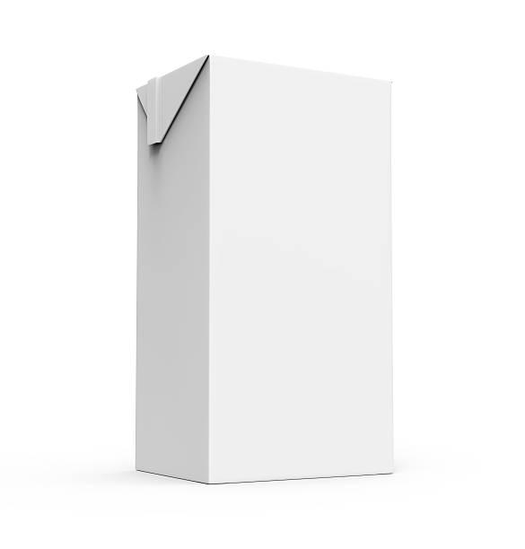 Jus de fruits, boîte de carton de lait blanc isolé - Photo
