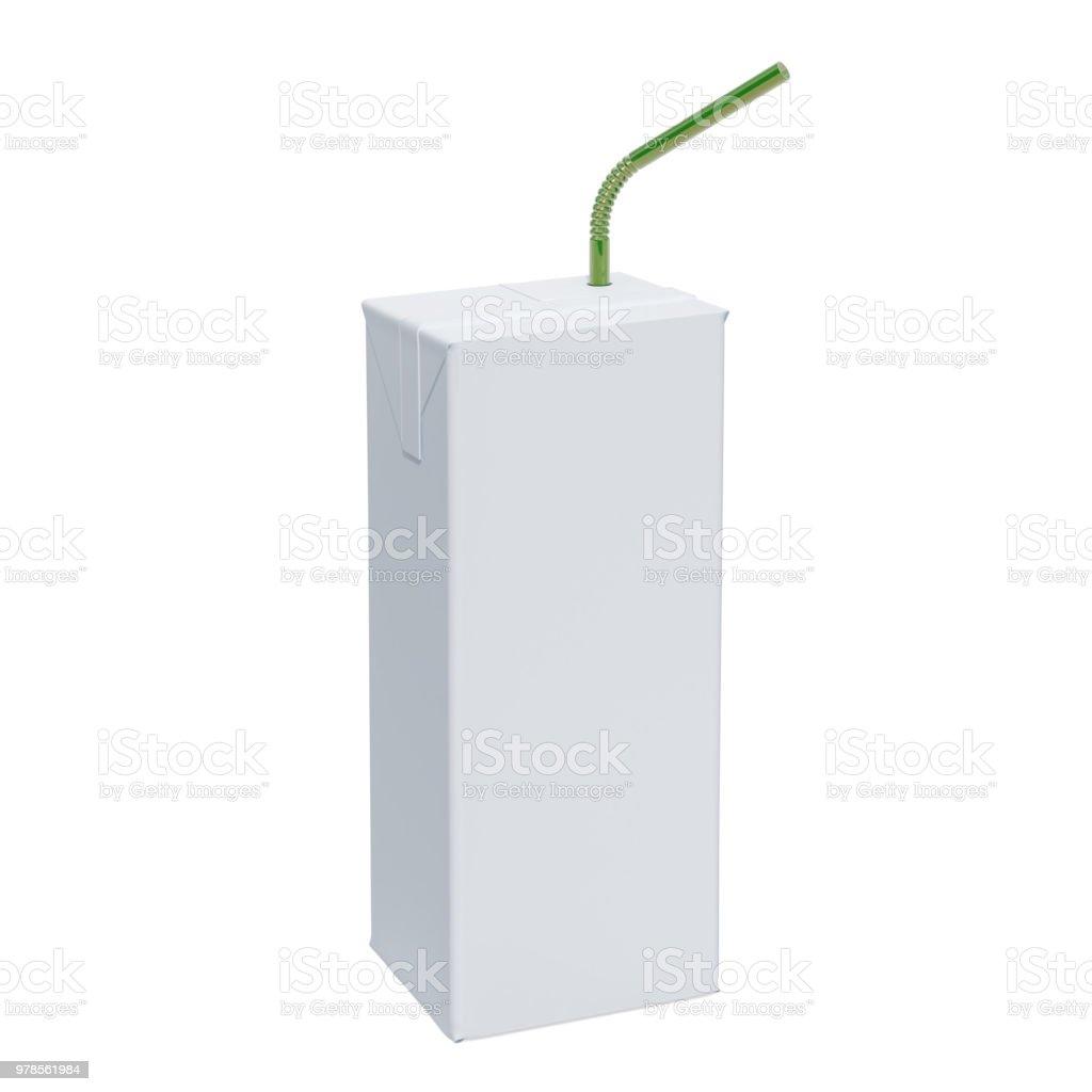 Caixa de leite ou suco com canudo para simulação. Renderização 3D, isolada no fundo branco - foto de acervo