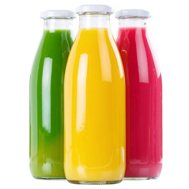juice smoothie smoothies in bottle square isolated on white - fruit juice bottle isolated foto e immagini stock