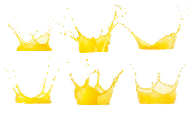 juice splashes set - spray stock photos and pictures