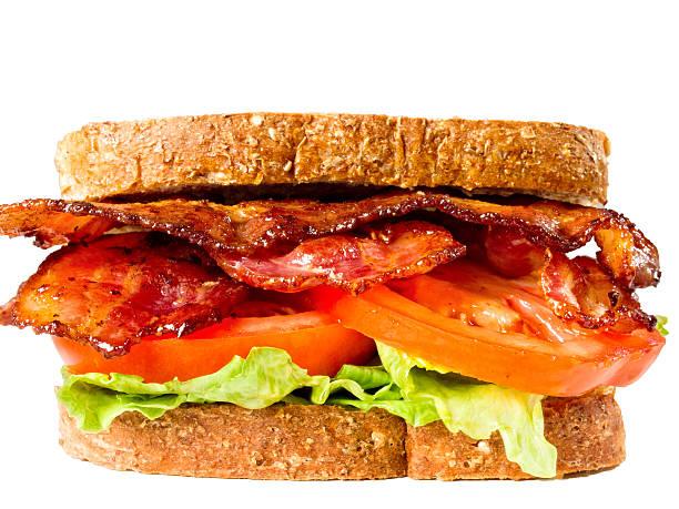 juicy bacon lettuce and tomato sandwich stock photo