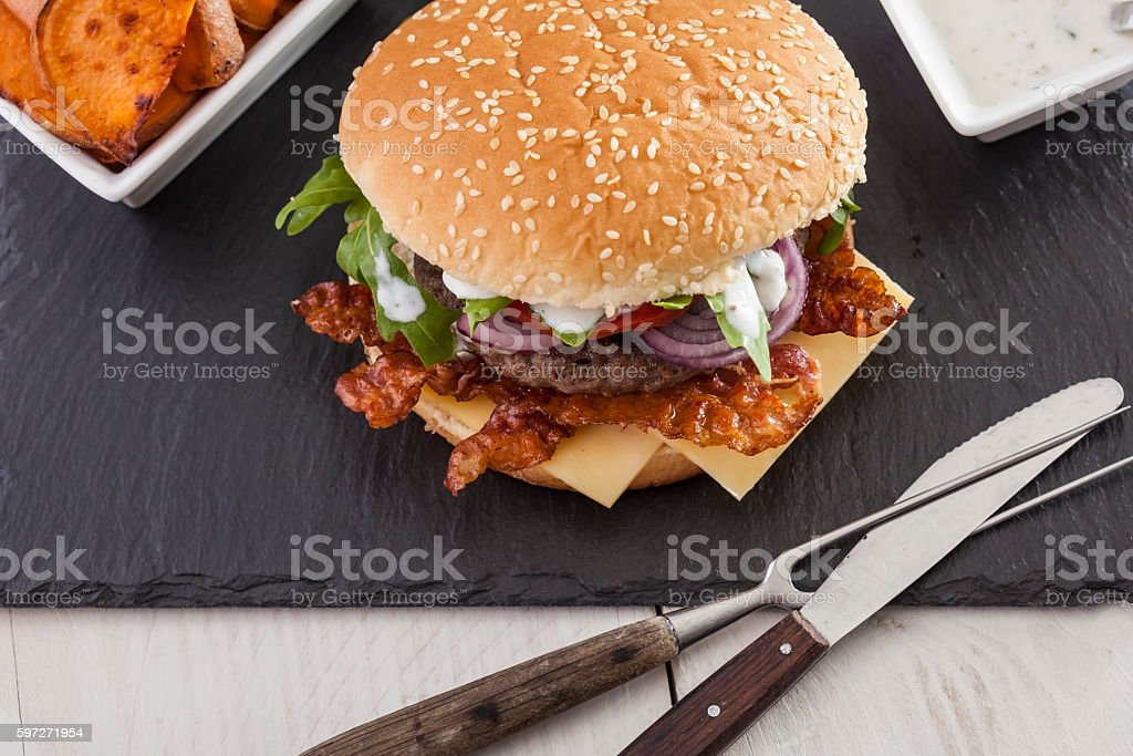 juicy bbq burger  bacon cheese fries royalty-free stock photo