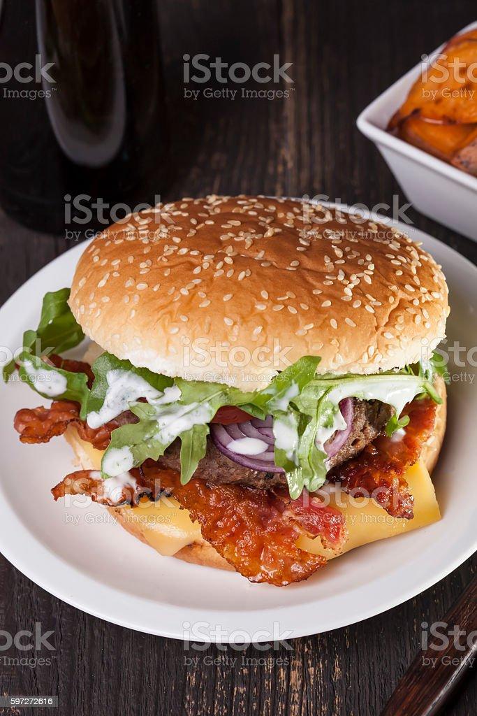 juicy bbq burger  bacon cheese fries royalty-free stock photo