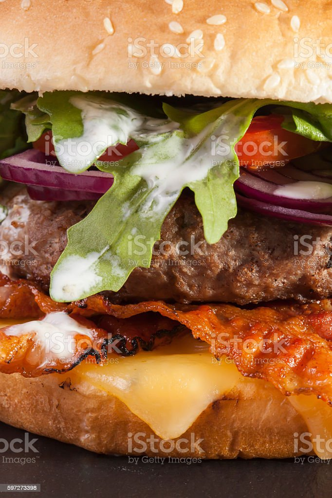 juicy bbq burger  bacon cheese fries Lizenzfreies stock-foto