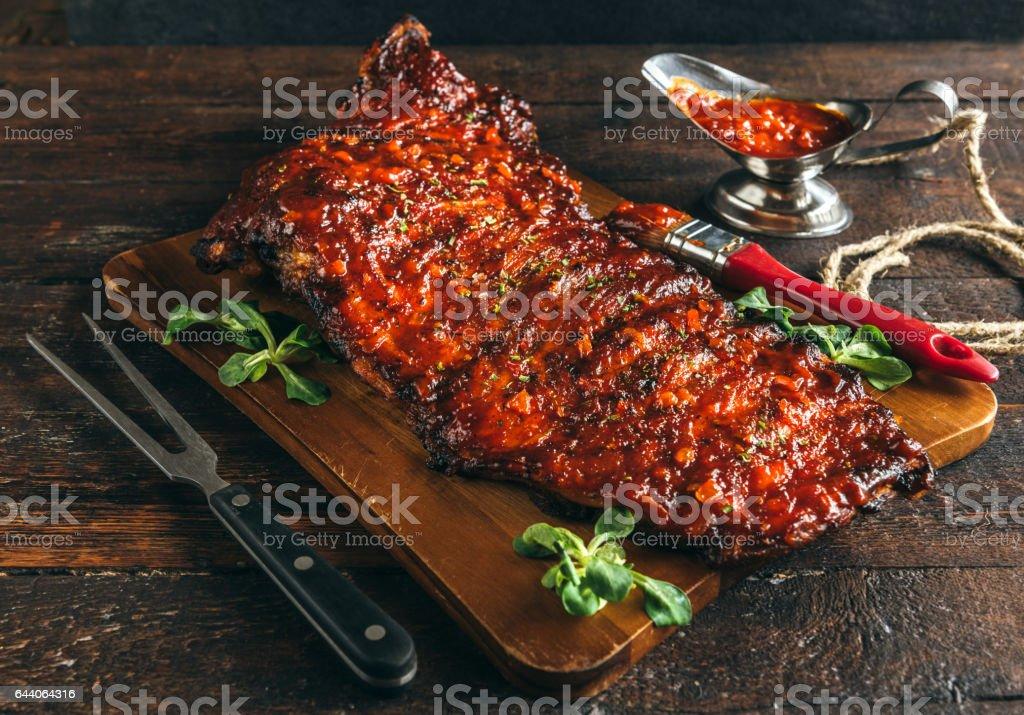 Juicy beef ribs stock photo
