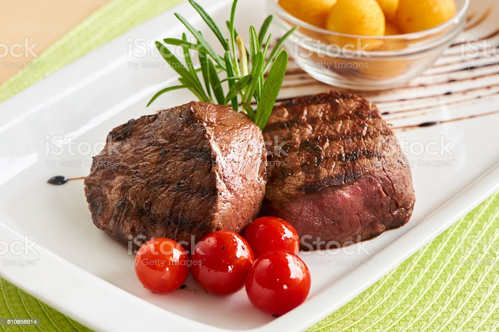 Juicy beef steak mignon stock photo