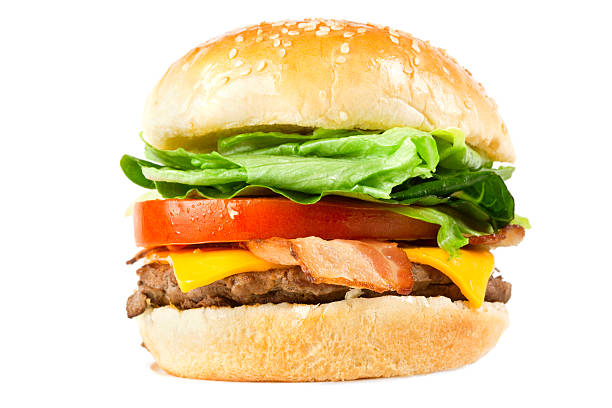 Juicy Cheese and Bacon Burger Fresh juicy Cheese and Bacon Burger isolated on white. Good for menu display.Click here for more images of Fast Food: bacon cheeseburger stock pictures, royalty-free photos & images
