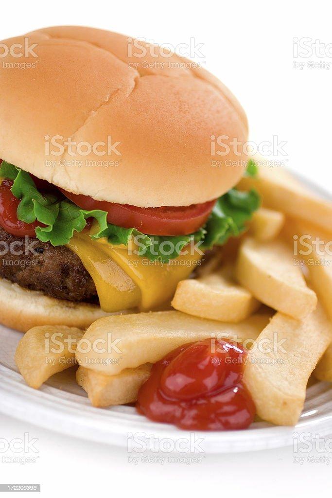 Juicy Cheeseburger & Fries royalty-free stock photo