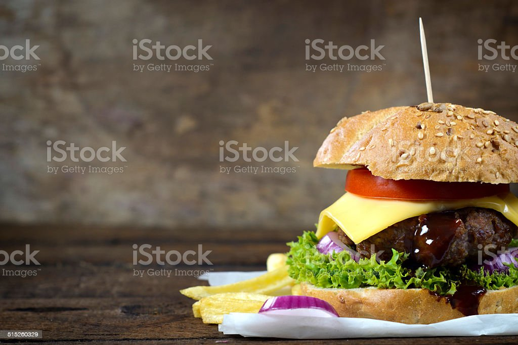 Juicy cheeseburger stock photo