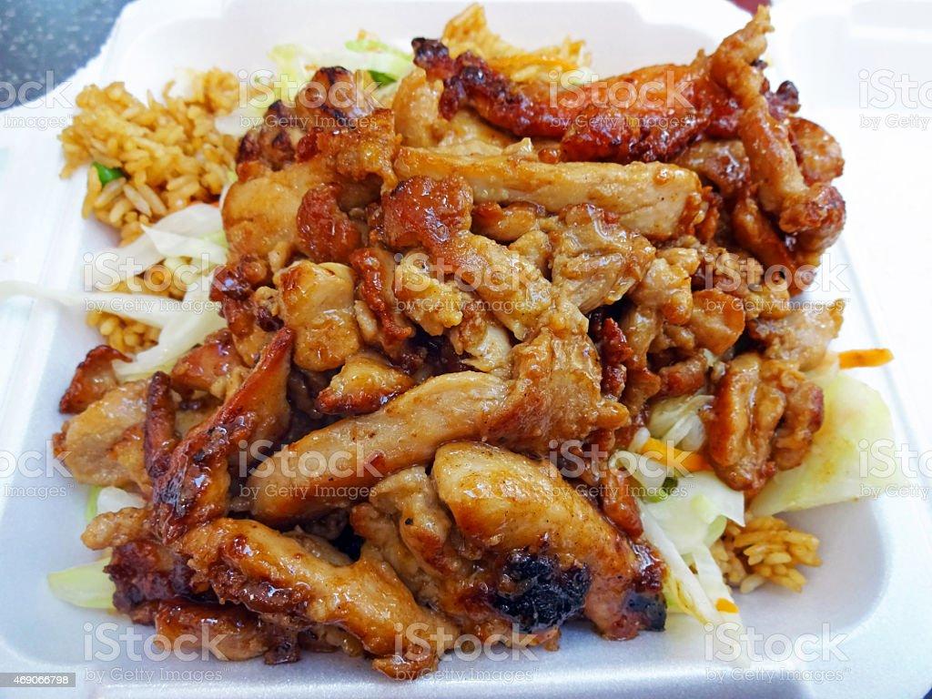 Juicy Chicken Teriyaki Carryout stock photo