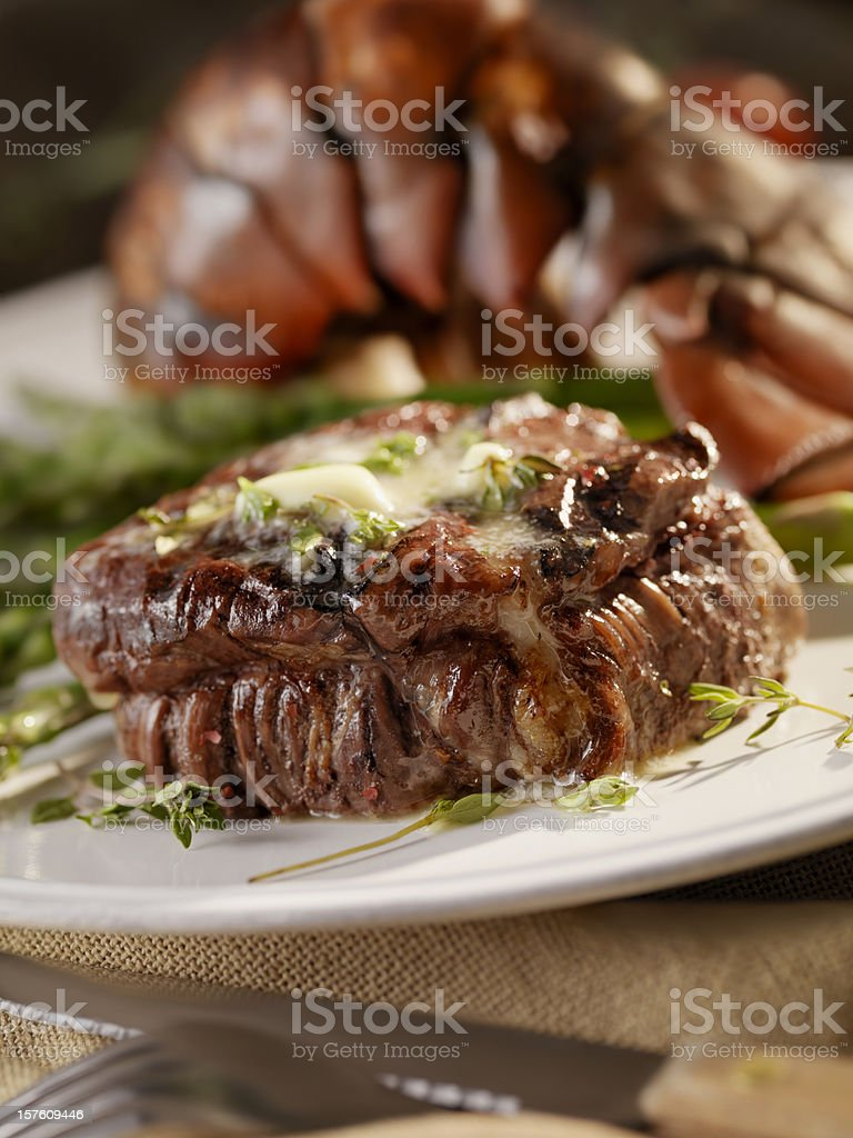 Juicy Fillet Steak with Lobster royalty-free stock photo