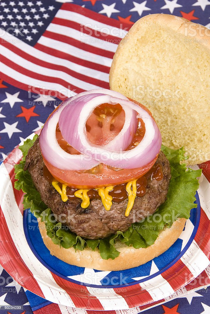 Juicy fourth of July hamburger royalty-free stock photo