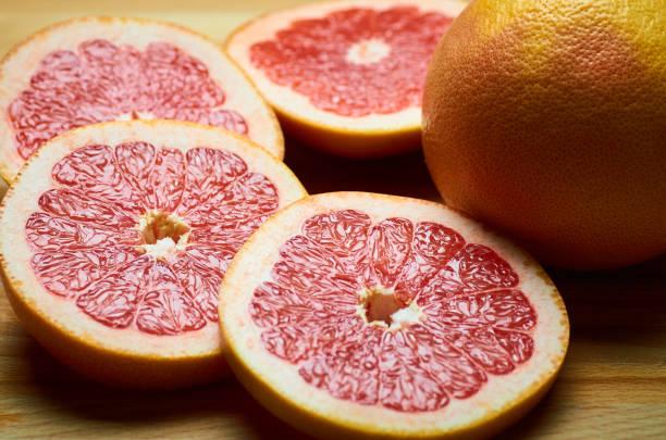 juicy grapefruit slices close up