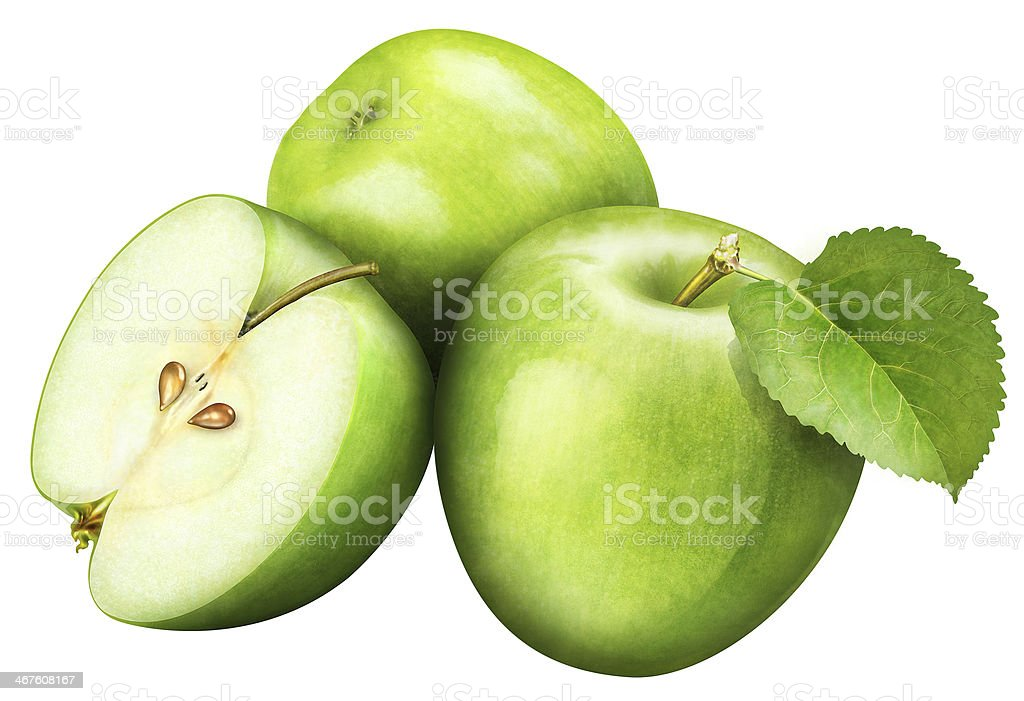 juicy green apple with leaf on white background , fruits stock photo