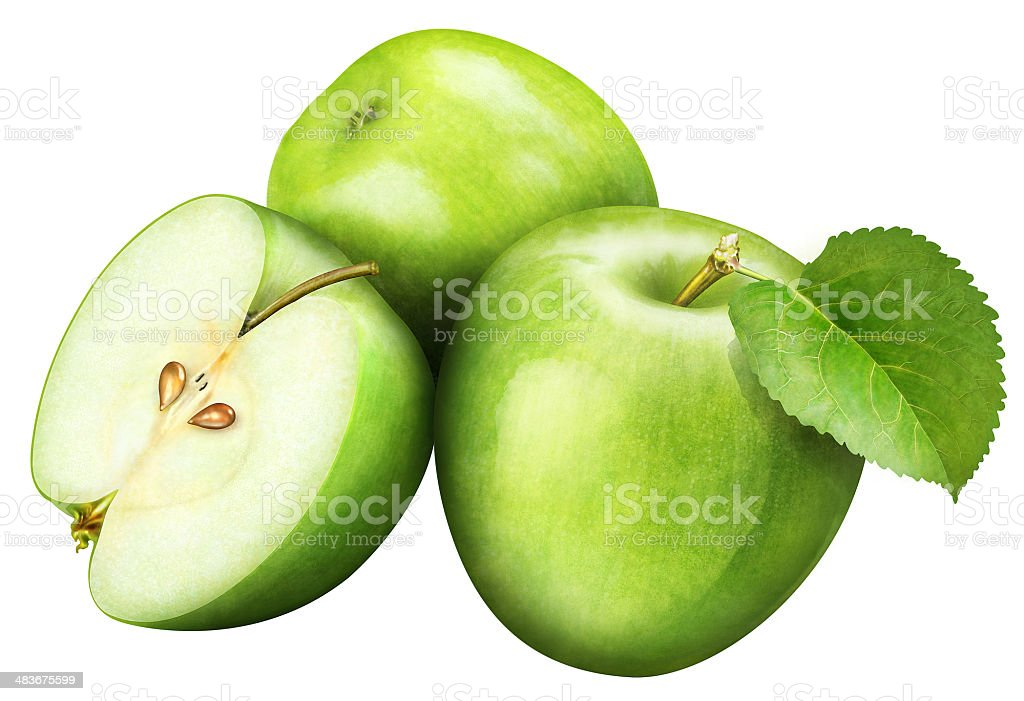 juicy green apple with leaf on white background stock photo