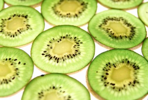 juicy green kiwi slices closeup