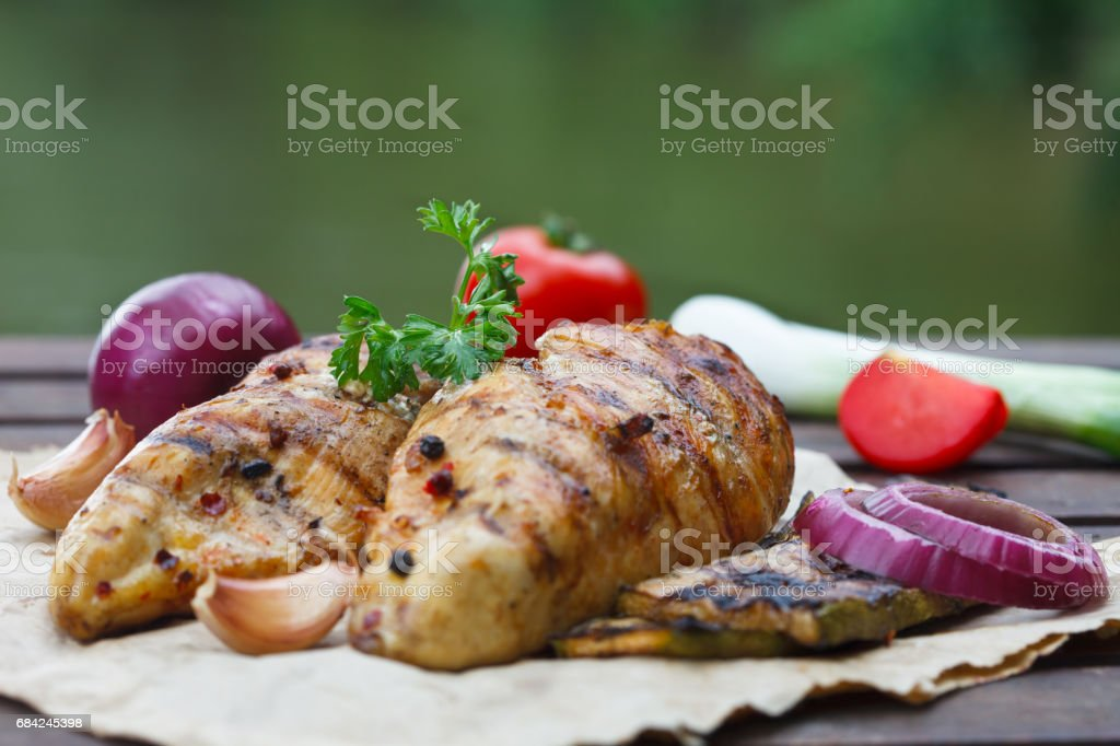 Juicy Grilled chicken breasts royalty-free stock photo