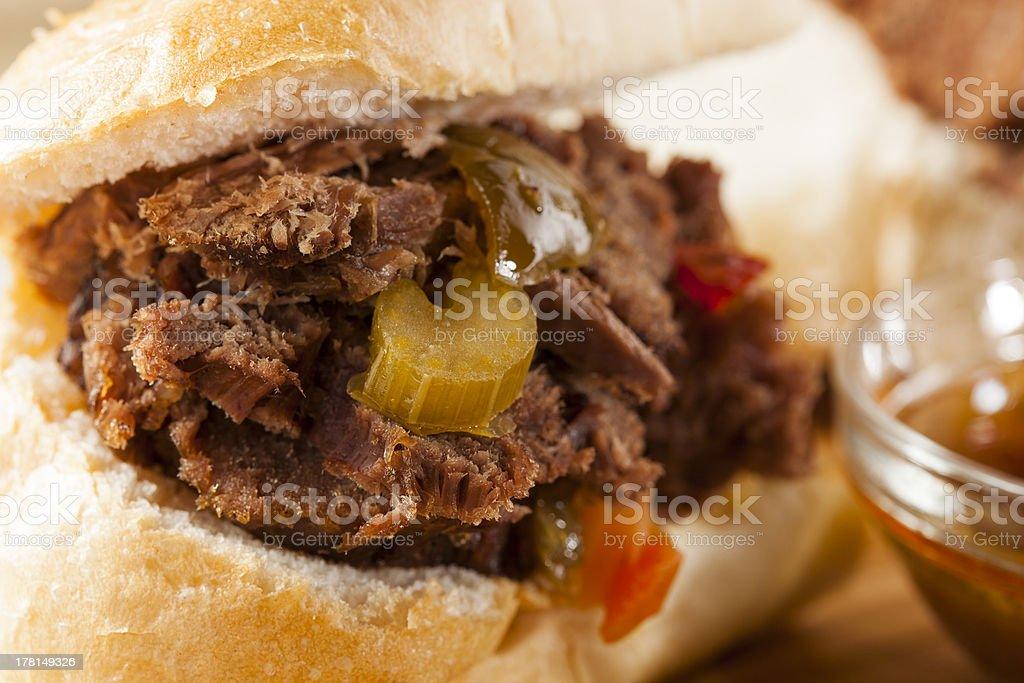 Juicy Homemade Italian Beef Sandwich royalty-free stock photo