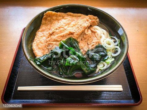 istock Juicy Kitsune & Wakame Udon in local restaurant. 1225605345