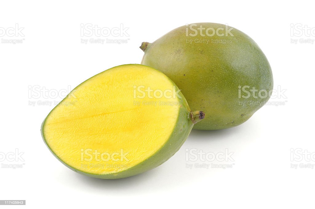 Juicy Mango Cut to Show Flesh royalty-free stock photo