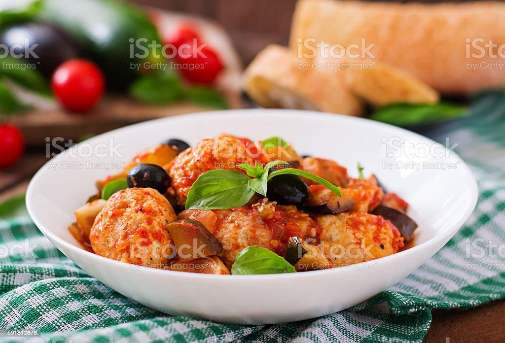 Juicy meatballs of turkey meat with vegetables