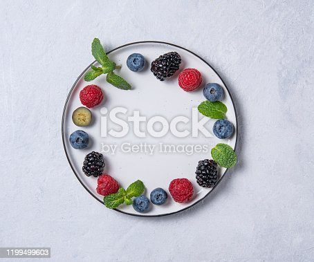 863562090 istock photo juicy  raspberries, blueberries, blackberries and mint leaves lie ona round in  a light plate on a white table 1199499603