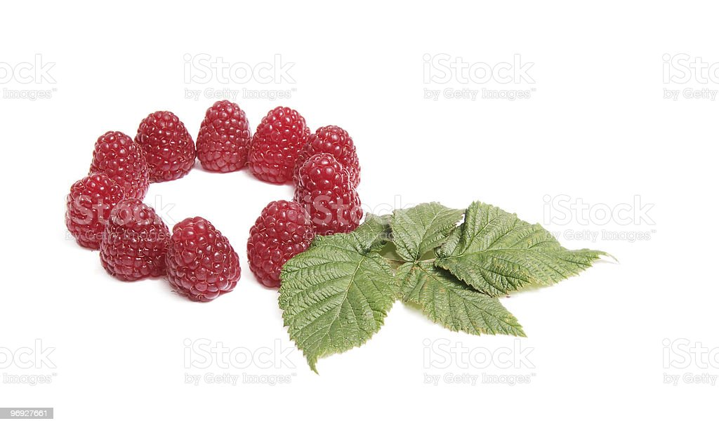 Juicy raspberries on a white. royalty-free stock photo