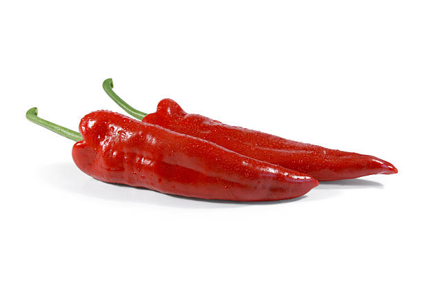 Juicy red pointed peppers stock photo