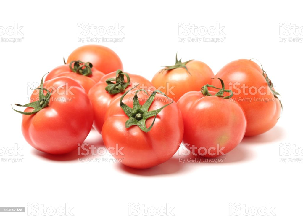 juicy red tomatoes isolated on white background - Royalty-free Agriculture Stock Photo
