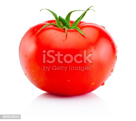 Juicy ripe red tomato isolated on white background