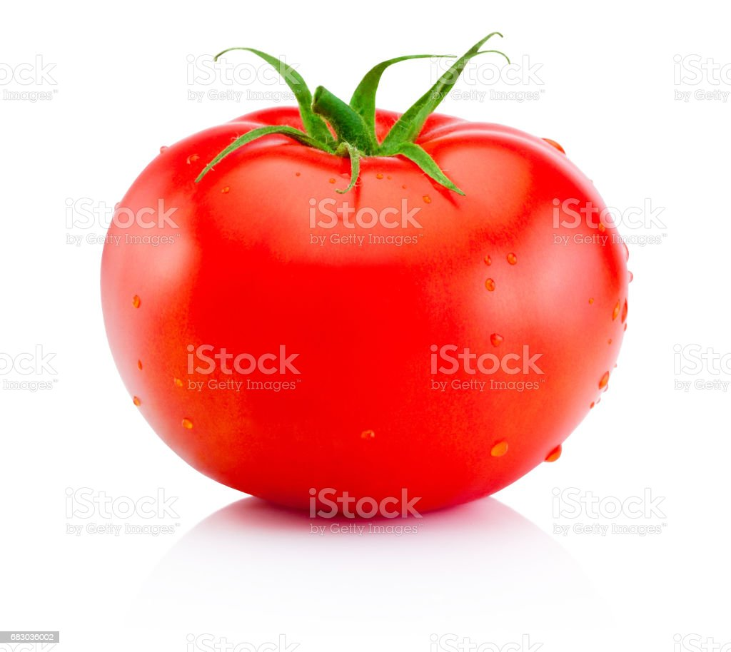 Juicy ripe red tomato isolated on white background stock photo
