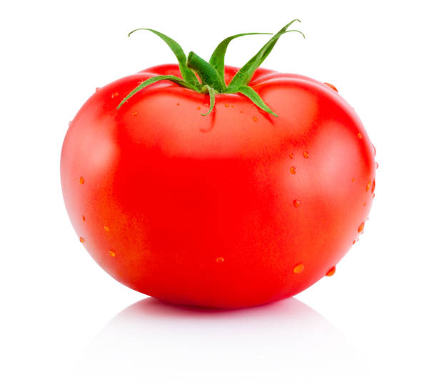 Juicy ripe red tomato isolated on white background stock photo