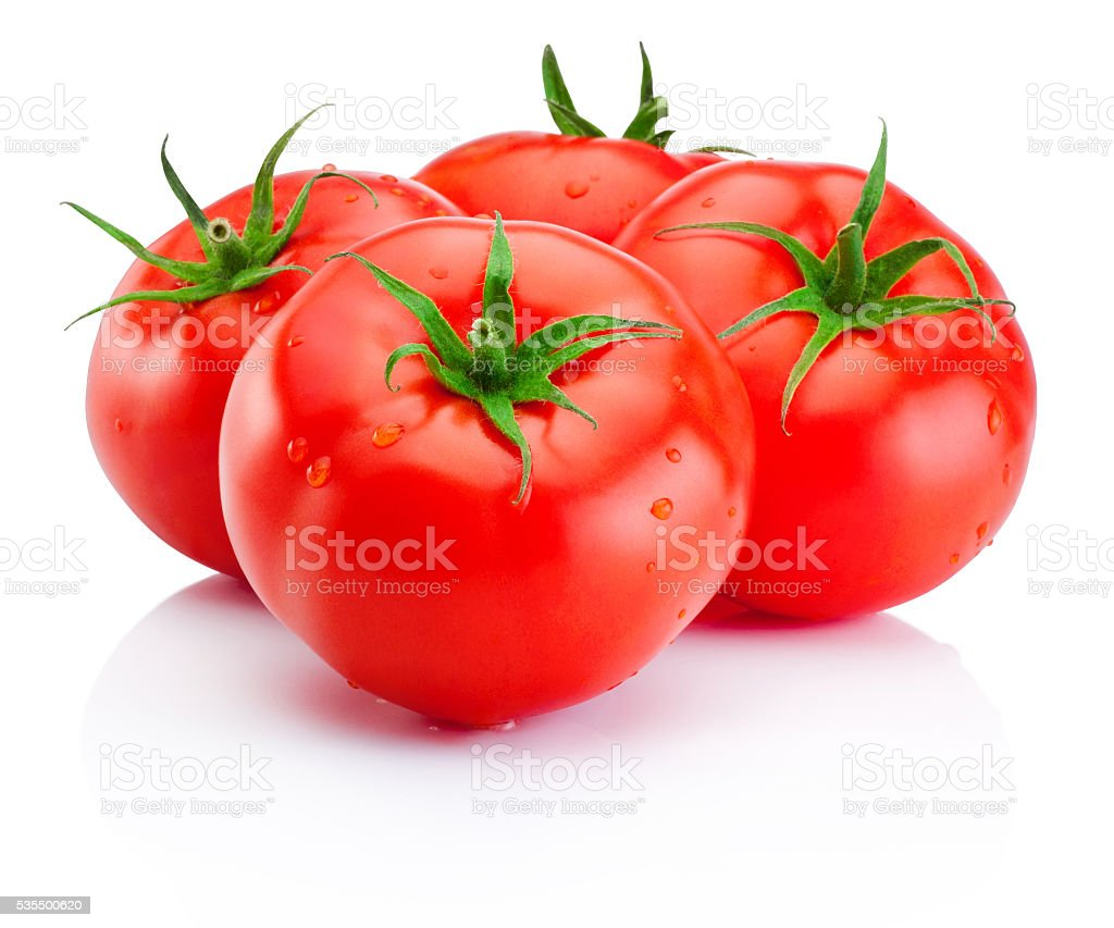 Juicy ripe red tomatoes isolated on white background stock photo