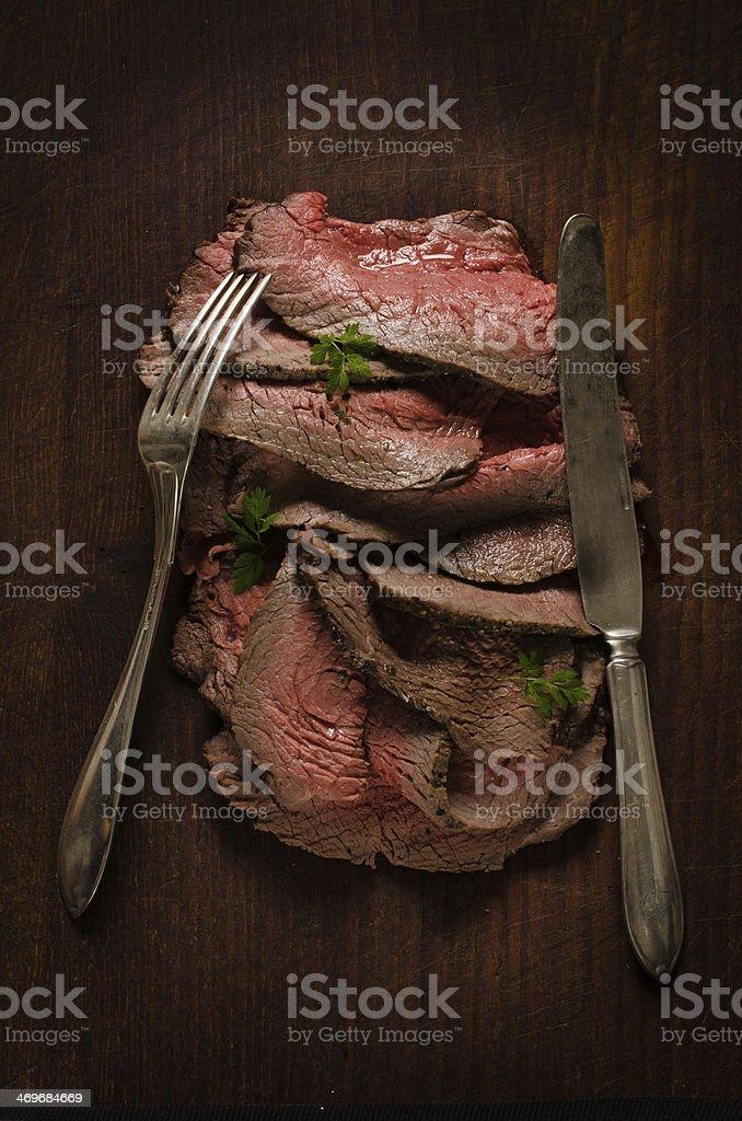 Juicy roast beef slices royalty-free stock photo