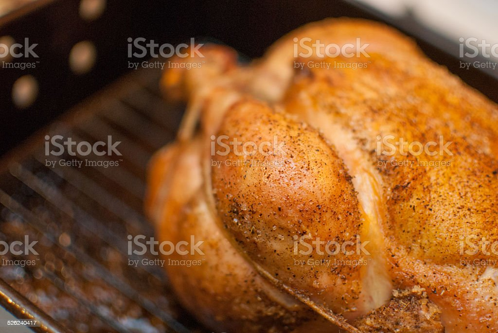 Juicy roasted chicken fresh out of the oven stock photo