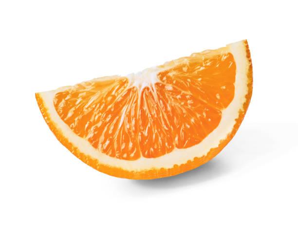 多汁的新鮮橘子片, 在白色孤立的背景上去皮。頂部視圖。特寫。 - 橙 個照片及圖片檔