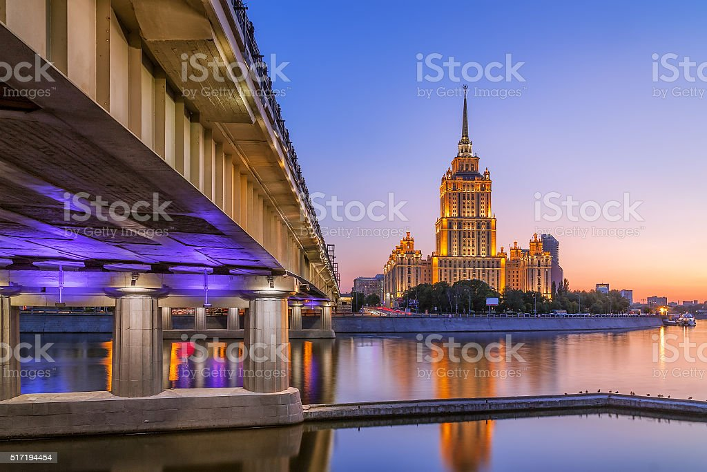 Juicy sunset at hotel Ukraine in Moscow night stock photo