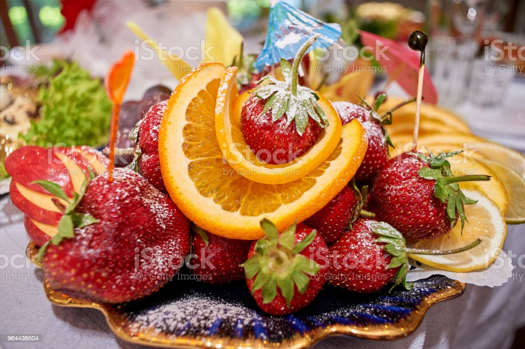 Bagas doces suculentas em açúcar em pó - Foto de stock de Açúcar royalty-free