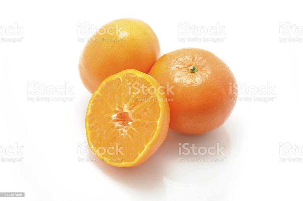 Juicy tangerines, isolated on white background royalty-free stock photo