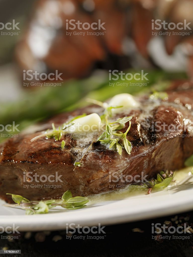 Juicy Top Sirloin Steak with Lobster royalty-free stock photo