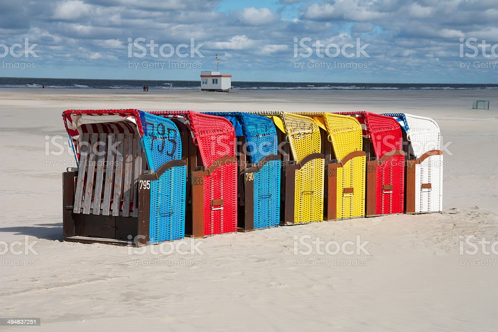 Juist - Bunte Strandkörbe in Reihe stock photo
