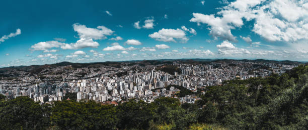 Juiz de Fora panoramic cityscape from a high point stock photo