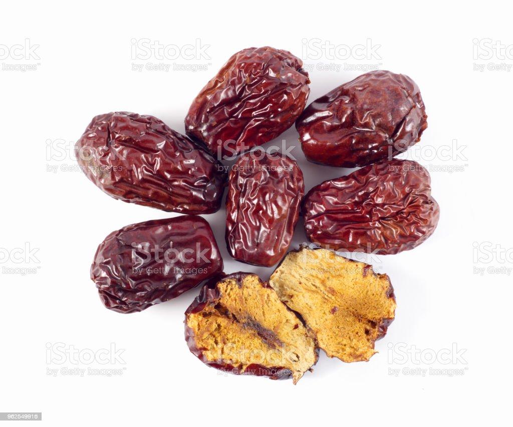 Jujube, Chinese dried red date fruit on white - Royalty-free Agriculture Stock Photo