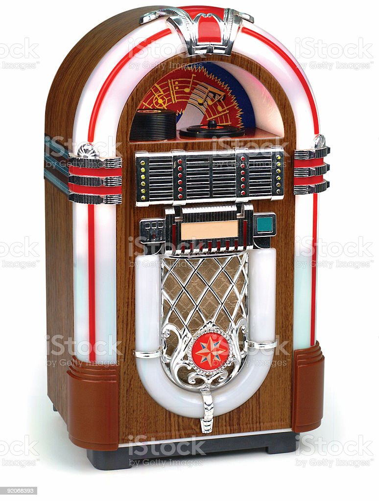 juke box on white stock photo