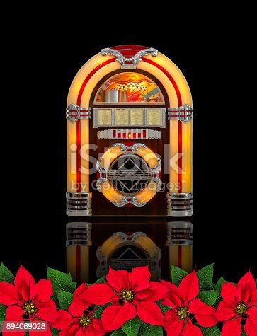Retro juke box radio with Red Poinsettia flower christmas ornament, isolated on black background
