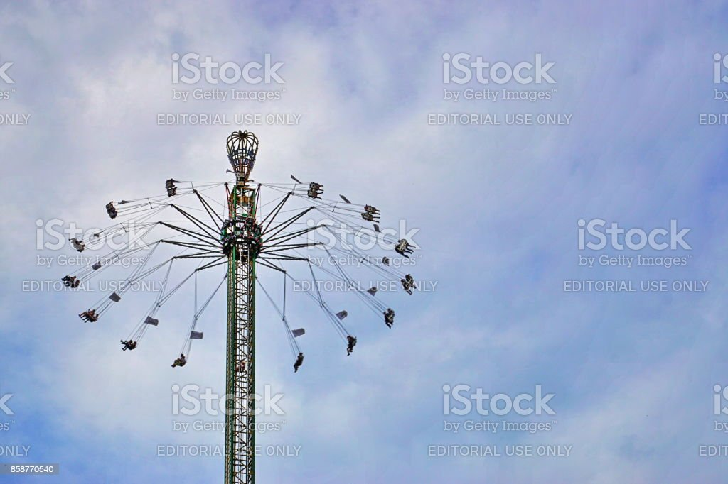 Jules-Verne-Tower carousel at the Oktoberfest. Munich, Bavaria. stock photo