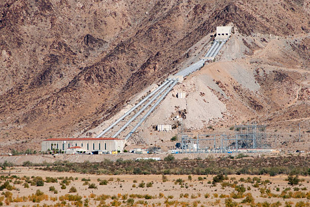 Julia Hinds Pumping Plant on the Colorado River Aqueduct stock photo