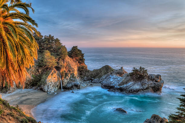 Julia Pfeiffer Burns State Park at Dusk stock photo