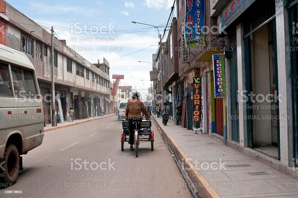 フリアカメインストリートペルー - アルティプラノのロイヤリティフリーストックフォト